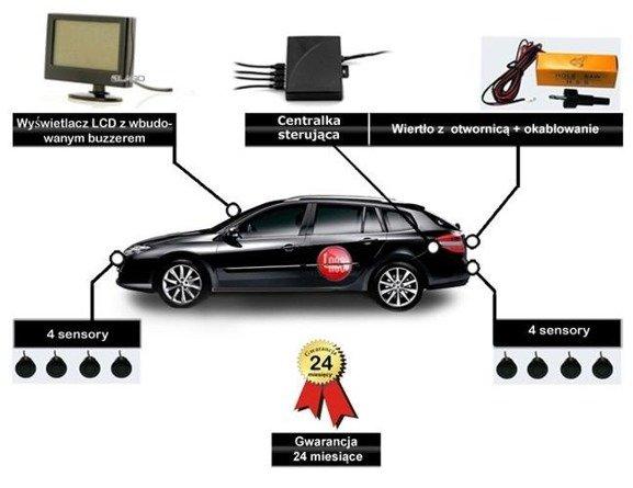 Czujniki parkowania z 6 sensorami i wyświetlaczem z buzzerem. Przód + tył.