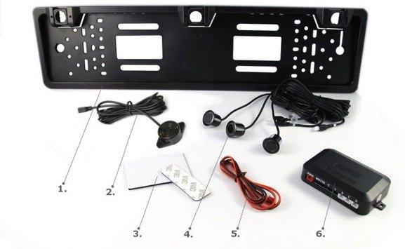 Regulowane czujniki parkowania w ramce tablicy rejestracyjnej + buzzer CP75 BUZZER