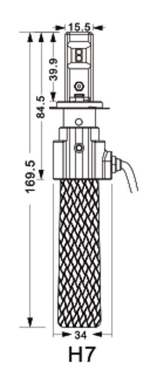 Zestaw żarówek LED H7 CSP 12-24V 72W 7600LM L990
